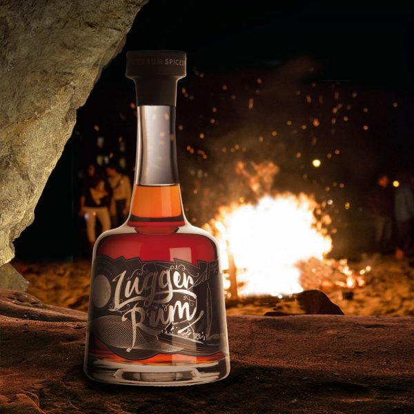 Lugger Rum bottle in front of a fire